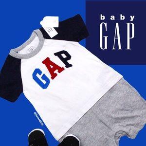 NWT Baby Gap Logo Raglan 2-in-1 One Piece Romper